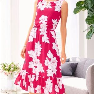 Talbots Womens pink / white floral  dress size 2